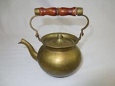 """Vintage, Metal & BRASS TEA POT, Shelf or Hanging Decoration, 5.5"""" w Handle Up"""