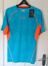 Mens Under Armour Compression blue and orange shirt - HeatGear Top Sports Large