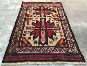 Authentic Hand Knotted Afghan Saghari Wool Kilim Area Rug 4 x 3 Ft (2294 HMN)