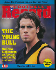1997 VFL Football Record Carlton v Geelong UNmarked April 25 -27  Blues Cats