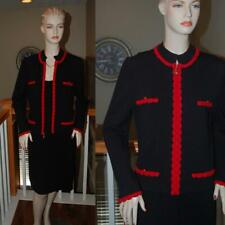 WOW ST. JOHN KNIT BLACK & RED SANTANA KNIT JACKET AND DRESS SUIT SZ 12