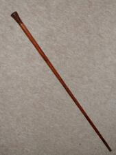 Antique Acacia Walking Cane - Pommel Top With Inset Bovine Bone Circle - 87.5cm