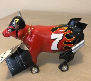 Cow Parade Nascow Stockyard Nascar Red & Black Flame  #7 2002