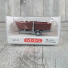 WIKING 0095 01 - 1:87 - Motorboot auf Anhänger - OVP -#V29361