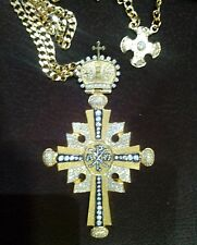 Gold Plated Pectoral Cross Christian Clergy Pendant Episcopal Bishop Priest new!