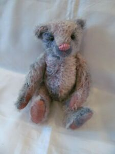 OOAK Artist Teddy Bear, Co-Co-Mero, Gray Mohair, Nine Inches, from Mother Hubbar