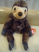 "TY Beanie Babies ""SLOWPOKE""  Plush Brown Sloth. PE Pellets. 1999. 8"". NEW"