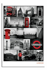 London Large Wall Poster Black and Red New