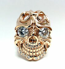 Men's 14K Rose Gold Skull Ring With Natural White Sapphire Eyes And Diamond Chin