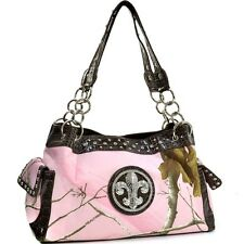 Realtree Women Camouflage Handbag Leather Shoulder Bag with Fleur de Lis Chain
