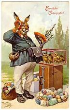 POSTCARD THIELE RABBIT POSTMAN WITH CHICKS & EGGS EASTER GREETING T.S.N. 1240