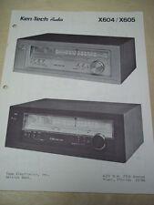 Ken-Tech Audio Service Manual~X604/X605 Tuner~Topp Electronics~Original