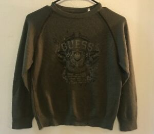 Guess Boys Sweater Fine Quality Wool Blend Olive Green Size 10/12