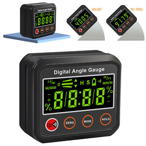 Digital Angle Gauge Level Box Protractor Angle Finder Inclinometer Alerts Magnet