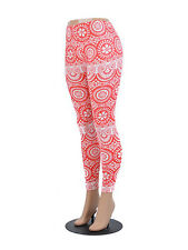 Coral and White Damask Print Leggings S/M