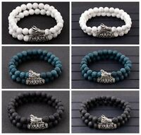 Dragon Head Lava Howlite Chakra Stone Bead Prayer Mala Bracelets For Men Women