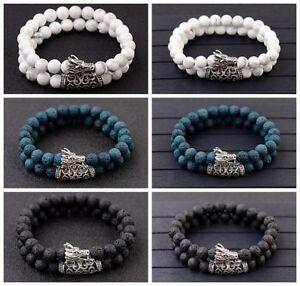 8mm Dragon Head Lava Howlite Chakra Stone Bead Prayer Mala Bracelets Men Women
