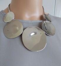 Shiny Silver Disc Statement Necklace -UK SELLER