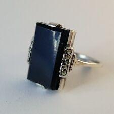 Filigraner Silber Ring Jugendstil mit Onyx  und  verziert mit Markasiten