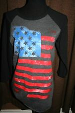 BOWERY SUPPLY COMPANY~ SIZE M~ BASEBALL STYLE SHIRT WITH AMERICAN FLAG