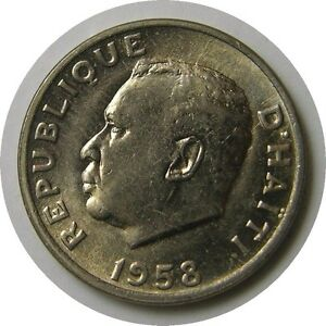 elf Haiti 5 Cents 1958 President Philadelphia Mint