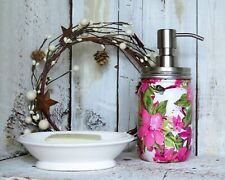Pink Green Clematis Vine Decoupage Mason Jar Soap Lotion Dispenser