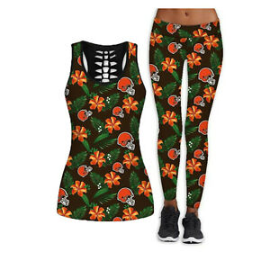 Cleveland Browns 2PCS Women's Tank Tops Fitness Leggings Yoga Pant Sport Suit