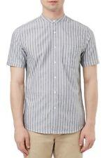 Topman Short Sleeve Stripe Band Collar Shirt Grey XS TD190 PP 09