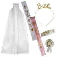 PINK / WHITE GOLD BRIDE TO BE ROSETTE VEIL SASH GARTER TIARA HEN NIGHT PARTY KIT