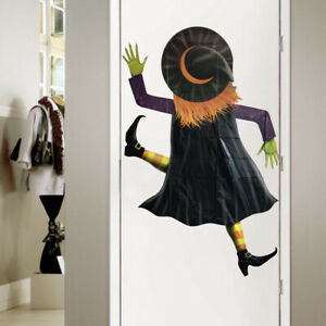 Halloween Crashed Hanging Green Witch Door Or Window Trick or Treat Decoration