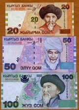 SET Kyrgyzstan, 20;50;100 Som, 2002, P-19-20-21, UNC