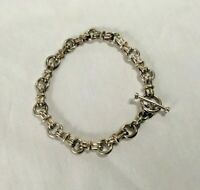 """Vintage 950 Solid Sterling Silver CABLE CHAIN 7 in. """" BRACELET Toggle Heavy 15g"""