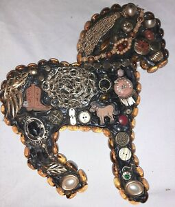 Handmade Vintage Costume Jewelry Art Collage Horse Home Decor One of a Kind