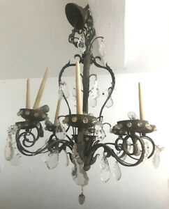 LARGE FRENCH ANTIQUE IRON, BRASS AND CRYSTAL 8 BRANCH CHANDELIER