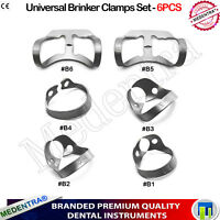 Dental Tissue Brinker Clamps Rubber Dam Premolars Incisors And Canines 6PCS Lab