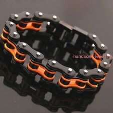 "8.5"" Heavy Black Orange Stainless Steel Biker Motorcycle Chain Mens Bracelet Hot"