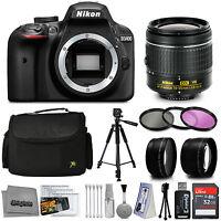 Nikon D3400 DSLR Camera with 18-55mm AF-P Lens + 32GB 15PC Accessory Bundle Kit