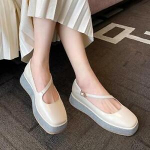 Womens New Fashion Leather Square Toe Buckle Strap Platform Mary Jane Shoes SKGB