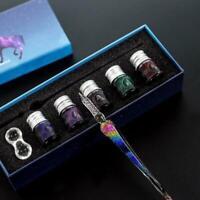 Geschenk Glasfeder Ink Glass Dip Pen Vintage Pens Glas Stift mit Tinte Halter