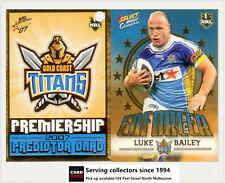 2007 Select NRL Invincible Enforcer + Predictor: E5 Luke Bailey (Titans)