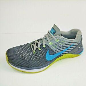 Nike Metcon DSX Flyknit Women's Size 9 US Running Shoes Gray / Blue 849809-004