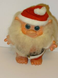 Vintage Dam 1960s 7 Inch Santa Claus Bank Troll Doll Complete Costume