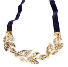 9h 1pc Shiny Gold Leaves Leaf Vine Stretch Head Band Hair Band Headband
