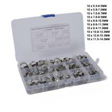 100 pcs 5.3-15.3mm Single Ear Plus Hydraulic Hose Clamps O-Clips Pipe Fuel Air