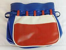 Vtg Leather Bucket Bag Drawstring Purse Women's Handbag Red White Blue Fashion