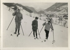 PHOTO ANCIENNE - VINTAGE SNAPSHOT - SPORT SKI ÉQUIPEMENT GROUPE - SKIING 1929