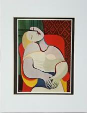 "Pablo Picasso ""Women Asleep in a Red Arm Chair""  Matted Offset Lithograph 1972"