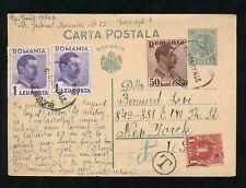 Rumania 1939 tarjeta de papelería a EE. UU. + franqueo debido 1c NY.. 5c T