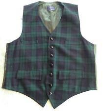 Vintage Pendleton Men's Wool Vest Navy Blue Green Plaid Tartan Print Small?