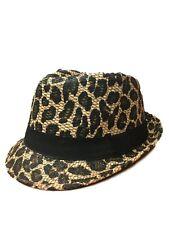 6086b32a11bc4 Men Women Unisex Fedora Hat Trilby Cuban Style Upturn Short Leopard Design  Brown